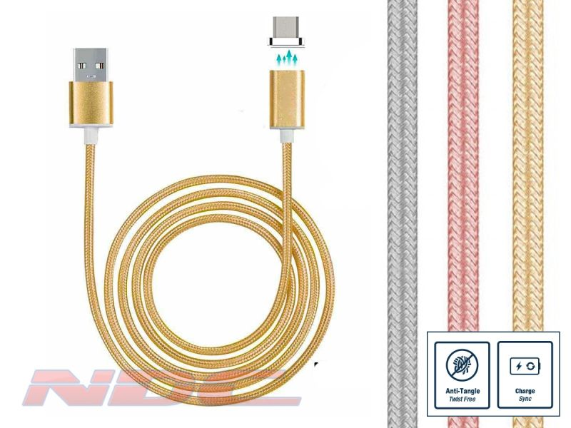 Magnetic Micro-USB 1m Cable GOLD - Standard Charge