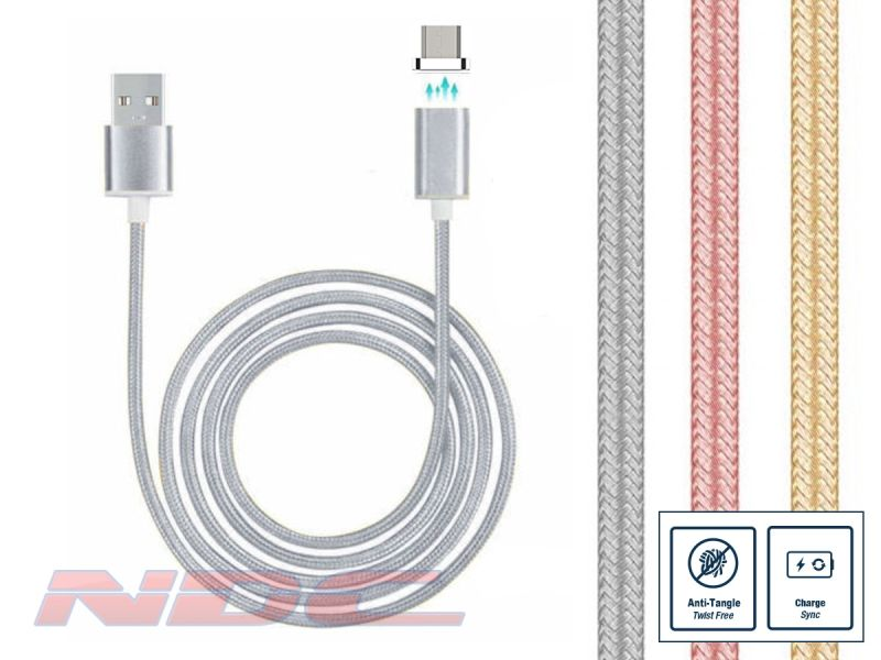 Magnetic Micro-USB 1m Cable SILVER - Standard Charge