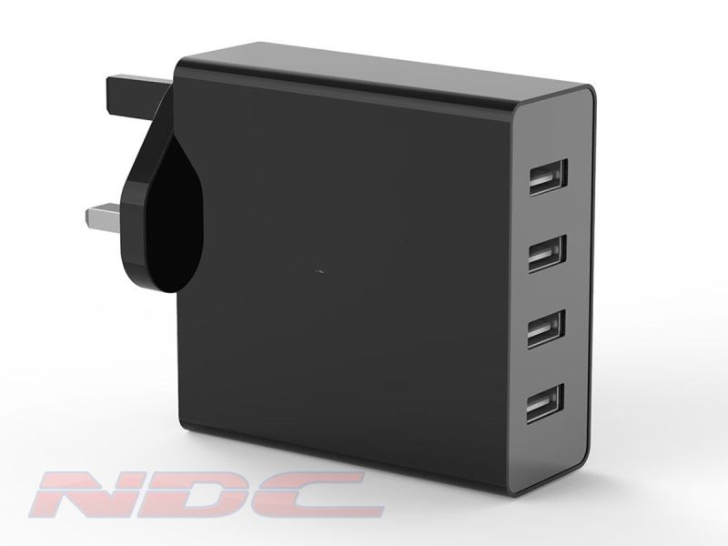 7.2A 4 Port USB Wall Charger UK - BLACK