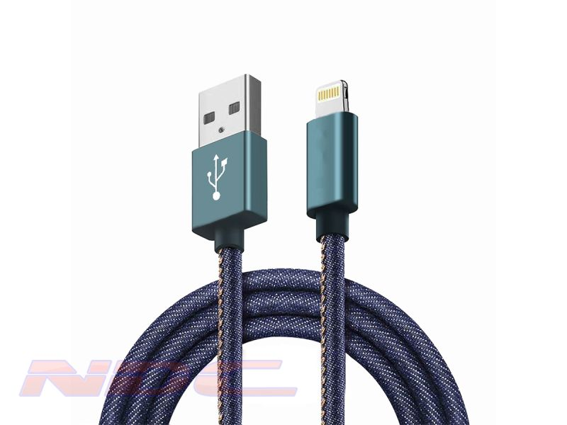 Jean Style USB-A to Lightning 1.8m Cable BLUE