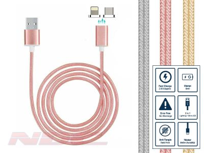 Magnetic Lightning+Micro-USB 1m Cable ROSE GOLD