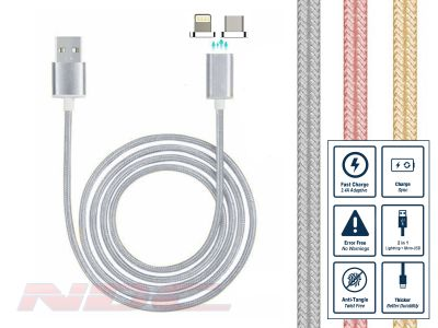 Magnetic Lightning+Micro-USB 1m Cable SILVER