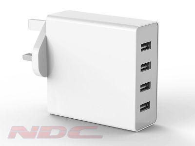 7.2A 4 Port USB Wall Charger UK - WHITE