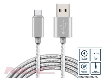 Braided USB-A to Micro-USB 1A 1m Cable SILVER