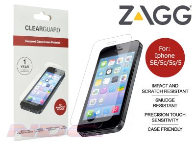 ZAGG ClearGuard Tempered Glass Screen Protector for Apple iPhone SE / 5c / 5s / 5