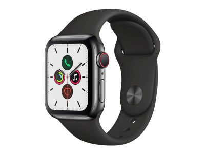 Apple Watch Series 5 40mm GPS + Cellular - Black Stainless Steel Case with Black Sport Band