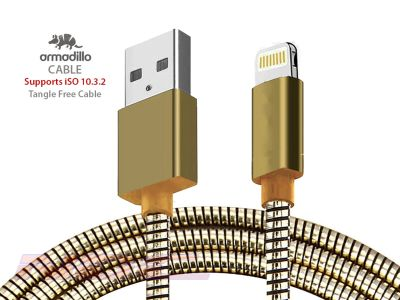 Armadillo Style USB-A to Lightning 1.0m Cable Gold