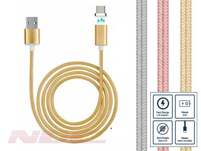 Magnetic Micro-USB 1m Cable GOLD