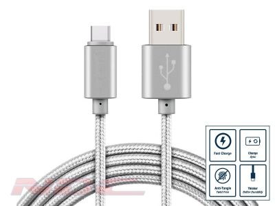 3A Fast Charge Braided USB-A to USB-C 3m Cable SILVER
