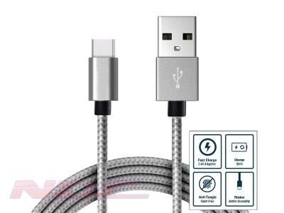 3A Fast Charge Braided USB-A to USB-C 2m Cable SILVER