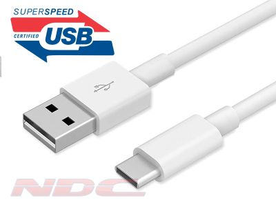 3A Fast Charge Braided USB-A 3.0 to USB-C 1m Cable WHITE
